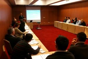 Opatija, 17-19. veljače 2010. - Dražen Antolović, načelnik u Upravi za strateške infrastrukturne objekte sudionicima radionice prezentirao je značajke prometne infrastrukture RH u svim prometnim sektorima