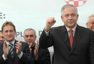 Ravča, 22. prosinca 2008. (s lijeva) Božidar Kalmeta, ministar mora, prometa i infrastrukture i Ivo Sanader, predsjednik Vlade RH